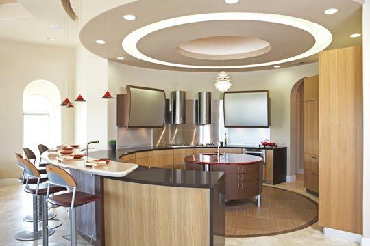 Disposición y diseño del mobiliario de cocina en forma circular