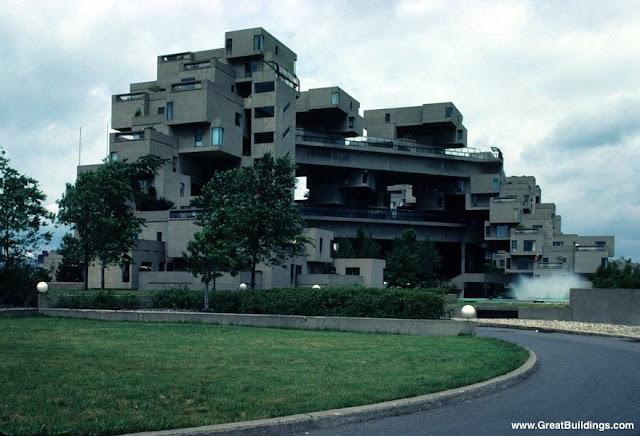 Complejo departamentos en Montreal estilo brutalista Habitat 67