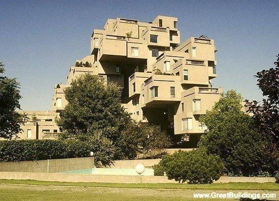 Complejo residencial moderno Habitat 67 brutalista en Canadá