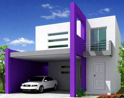 Renderizado de una casa contemporánea de dos plantas