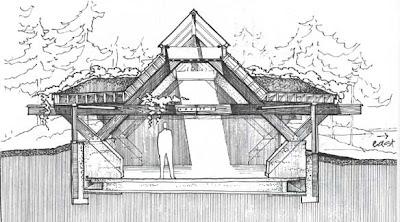 Dibujo de un refugio experimental bioclimático