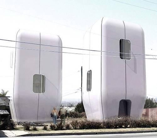 Dos casas ergonómicas prefabricadas futuristas, imagen del renderizado