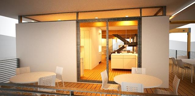 Imagen de renderizado de proyecto arquitectónico para una casa prefabricada americana