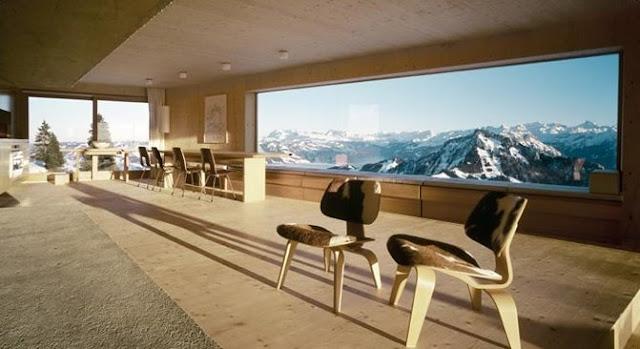 Cabaña de montaña chalet estilo Contemporáneo de madera vista interior