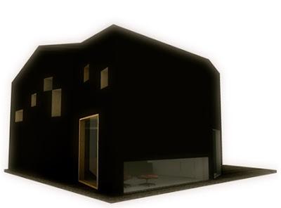 Renderizado de un proyecto de casa residencial cubierta de poliuretano negro