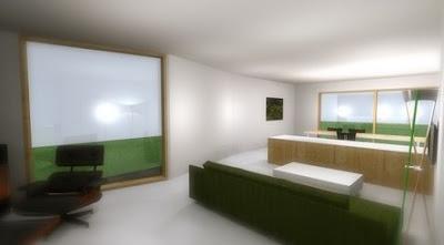 Perspectiva de amplio ambiente en la casa, imagen del renderizado