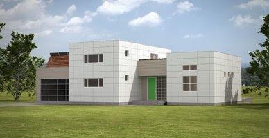 Renderizado de una casa residencial moderna industrializada