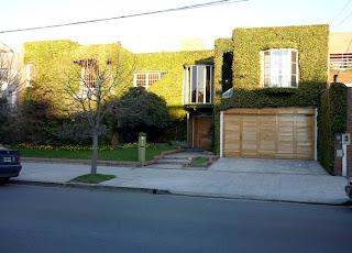 Casa con hiedra en la fachada