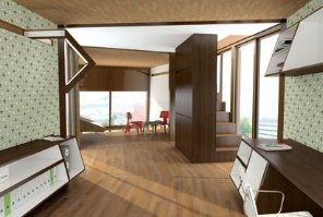 Interior de la casa prefabricada