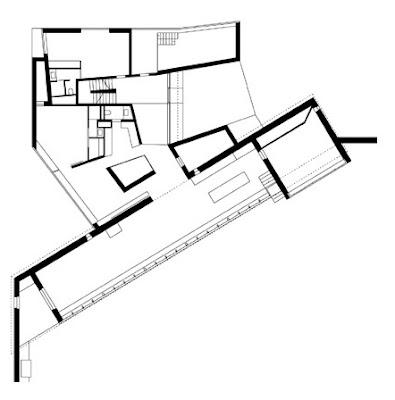 Plano arquitectónico de planta del nivel principal de la nueva residencia