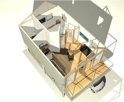 Renderizado de una casa económica pequeña muestra el interior