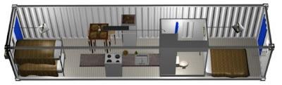 Modelo de casa económica en un contenedor