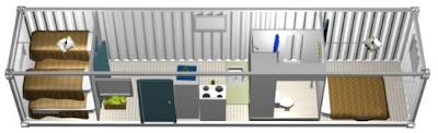 Modelo de casa económica con dos dormitorios