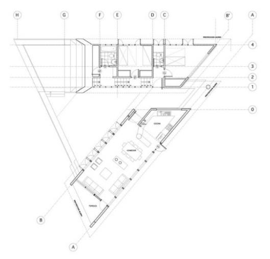 Plano de planta de la casa cabaña chilena