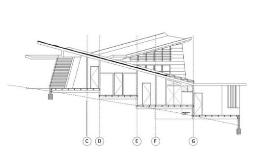 Plano de alzada de la casa cabaña contemporánea chilena