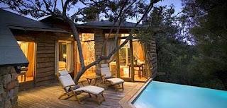 Cabaña + árboles + piscina