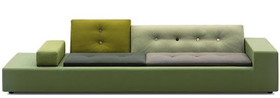 Polder sofá vista de frente color verde tonos combinados