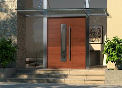 Puerta contemporánea exterior de residencia producida en Estados Unidos