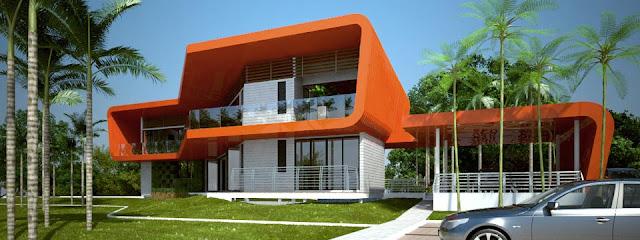 Imagen del renderizado de casa Tropical ecológica y vanguardista