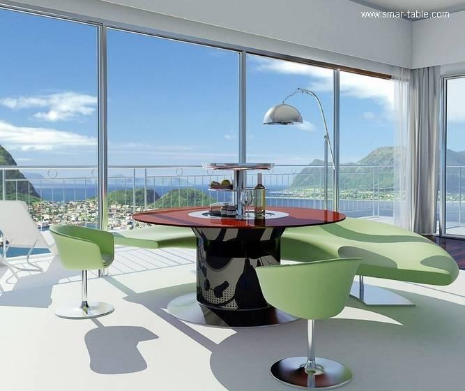 Arquitectura de Casas: Mesas de comedor redondas con refrigerador.