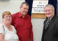 Christine and Brian Lowe launching the National Aspergillosis Centre alongside Dr Chris Steele