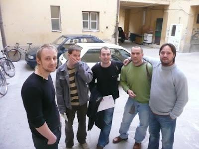 Samu János, Csepregi János, Neszlár Sándor, Mészáros Márton, Kollár Árpád (balról jobbra)