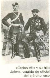 Don Carlos VII y su hijo Don Jaime de Borbón