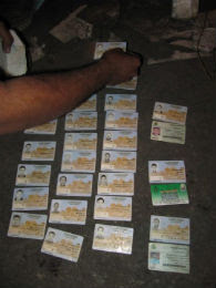 Confiscated police IDs