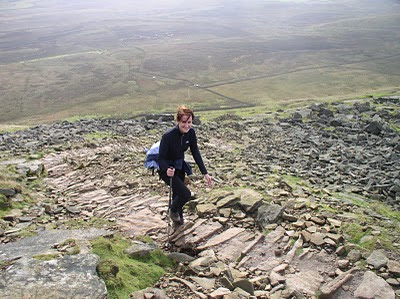 Lisa enjoying her first ascent of Pen-y-Ghent