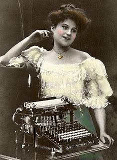 vintage typewriter Victorian woman
