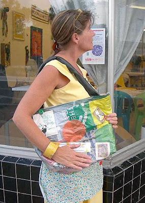 offcenter community arts project, recycled art market bag