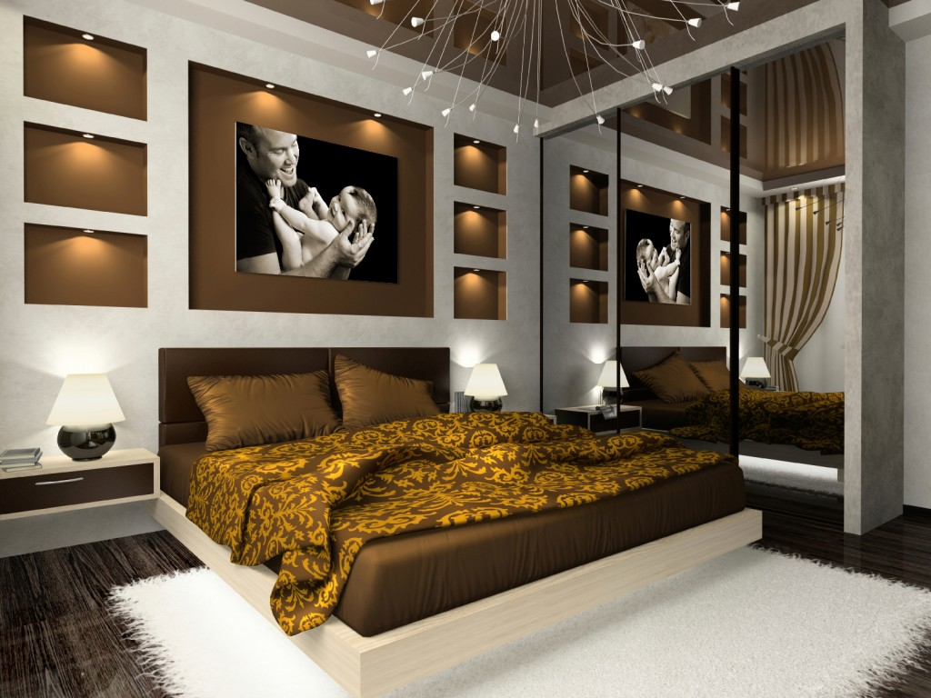House design exterior and interior the best bedroom design with brown concept - Interior bedroom decoration ...