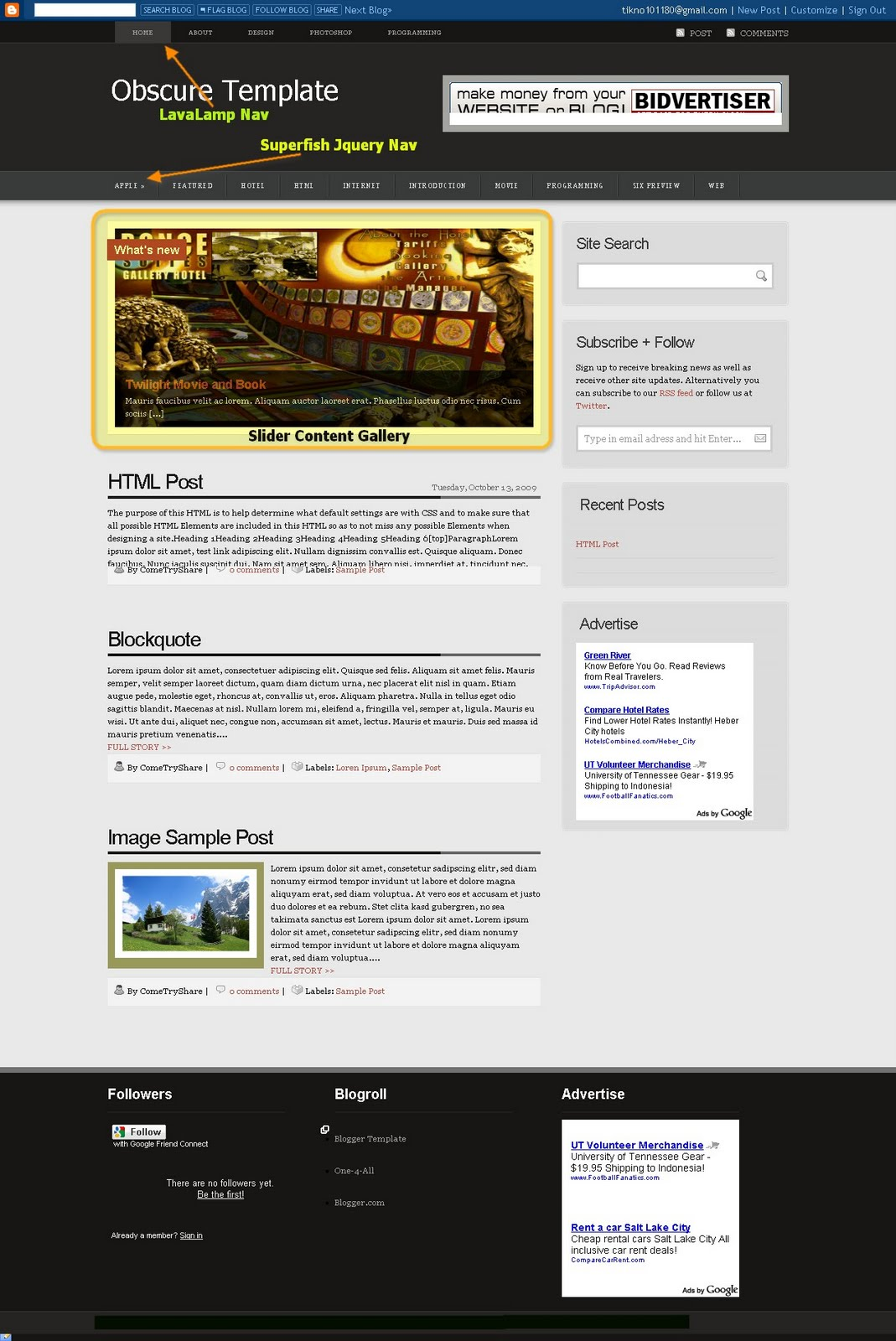 Obscure Magazine Blogger Template