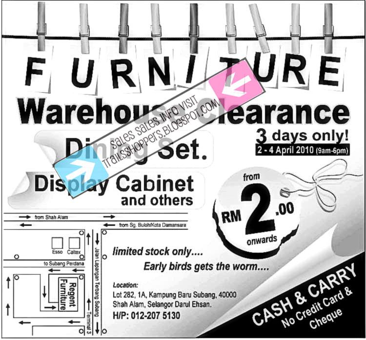 Furniture warehouse clearance sale 2 apr 4 april 2010 for Furniture warehouse sale