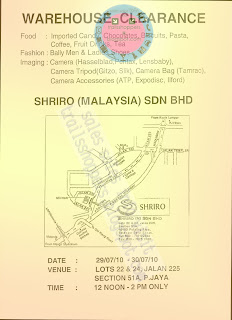 Shriro Malaysia Sdn Bhd Warehouse Clearance