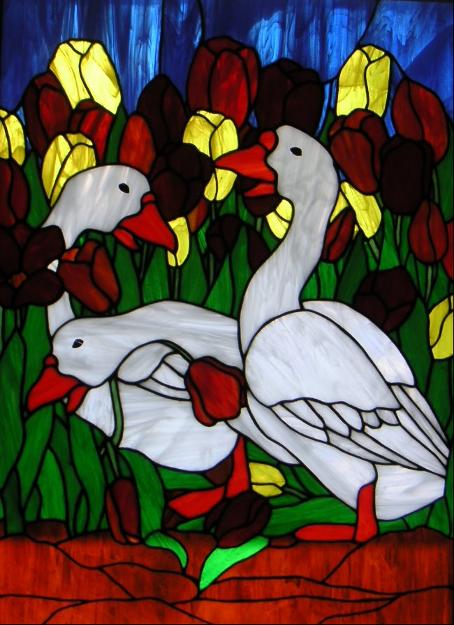 geese in tulips stained glass