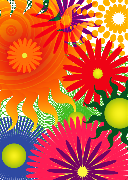 colorful flowers made in illustrator