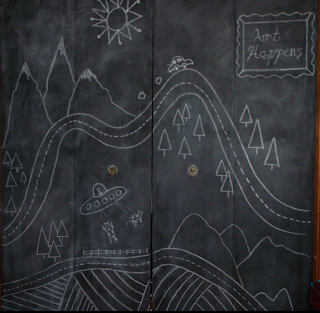 chalkboard drawing on a closet door