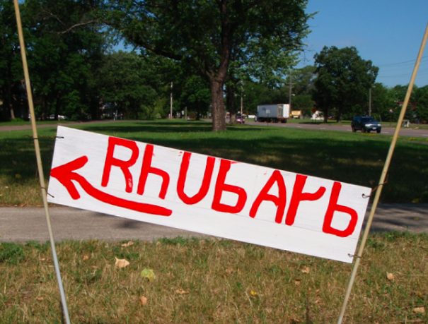 funny sign for rhubarb