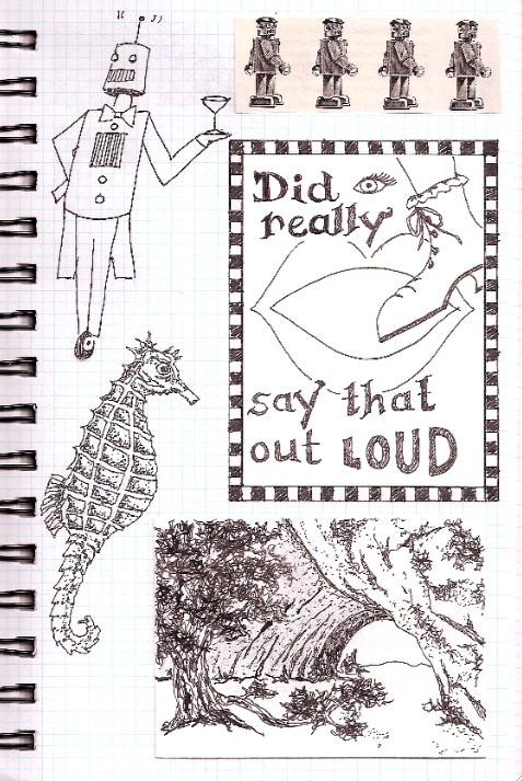 ink drawings in an artist journal
