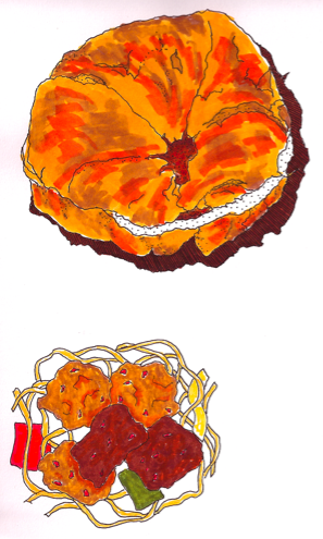 marker drawing of food