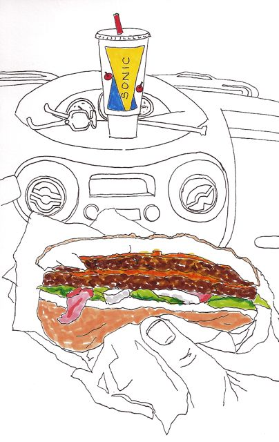 drawing of lunch at Sonic