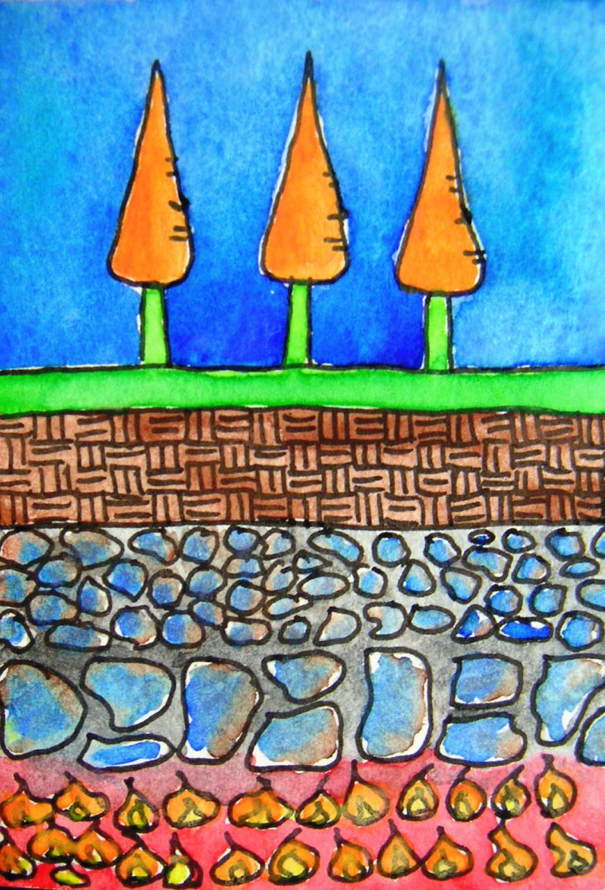 drawing of carrot trees