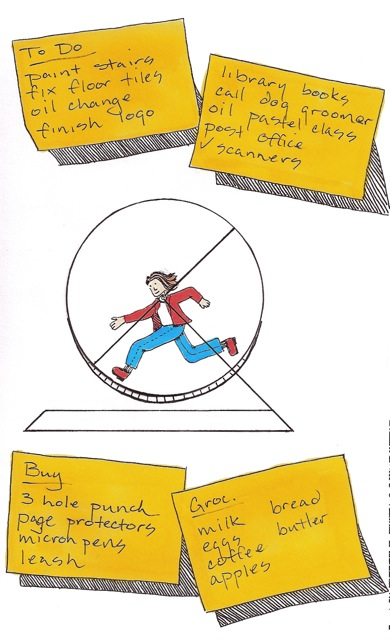 drawing of a woman running inside a hamster wheel
