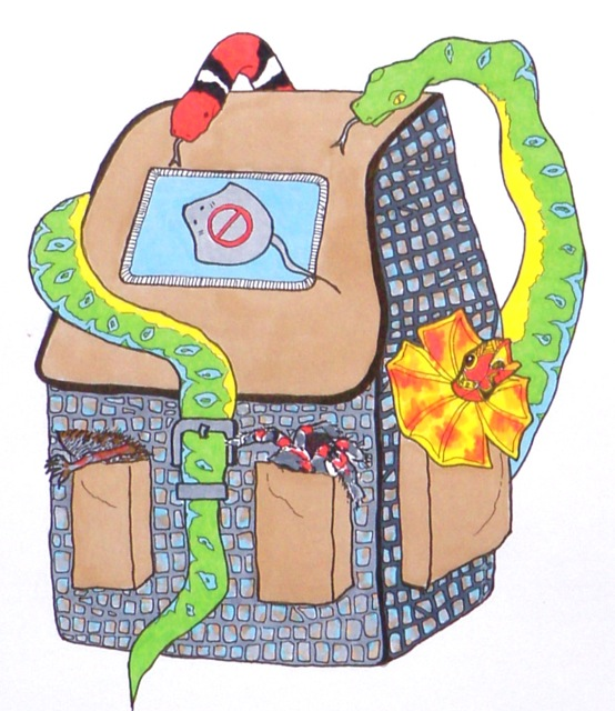 ink and marker drawing of a backpack filled with snakes and reptiles