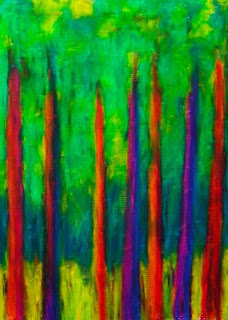 oil pastel drawing of rainbow trees