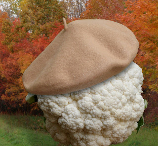 cauliflower wearing beret