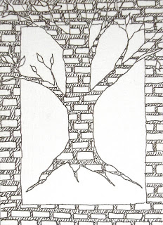 tree outline on a brick wall ink drawing