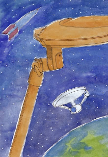 artist journal drawing of space ships and lamp