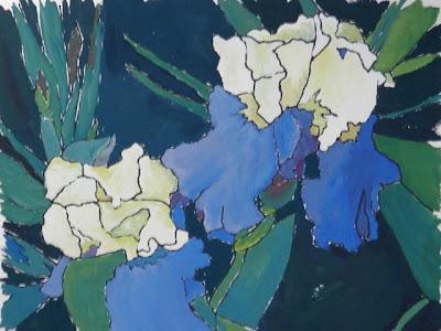 gouache batik irises